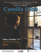Poster about Camilla Gibb reading at UNB