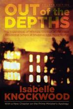 Cover image of the book entitled Out of the Depths showing a burning building